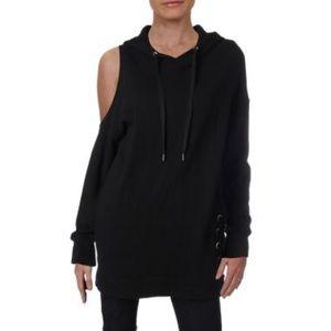 SPLENDID -Lace-Up Cold Shoulder Hoodie dress